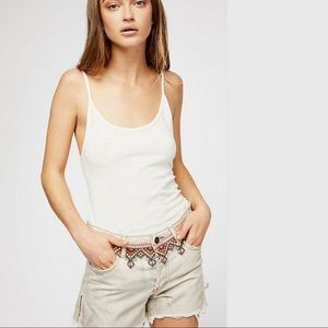 FREE PEOPLE Borderline Embroidered Cutoff Shorts